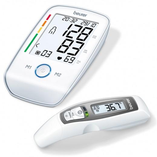 بيورير - جهاز قياس ضغط الدم من أعلى الذراع موديل BM45+ ترمومتر لقياس درجة الحرارة من الجبهة FT 65