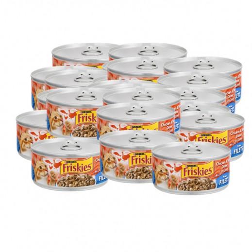 فرسكس – طعام القطط من فيليه الدجاج والتونة مع المرق 156 جم (8 حبة)