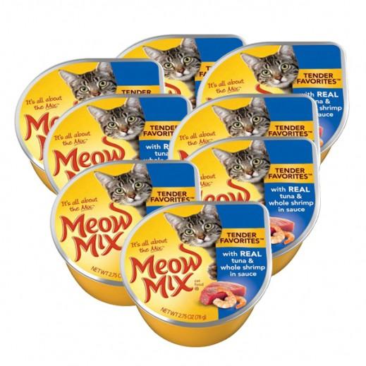 ميو ميكس – طعام القطط  بميدلي لحم التونة والروبيان 78جم (8 حبات)