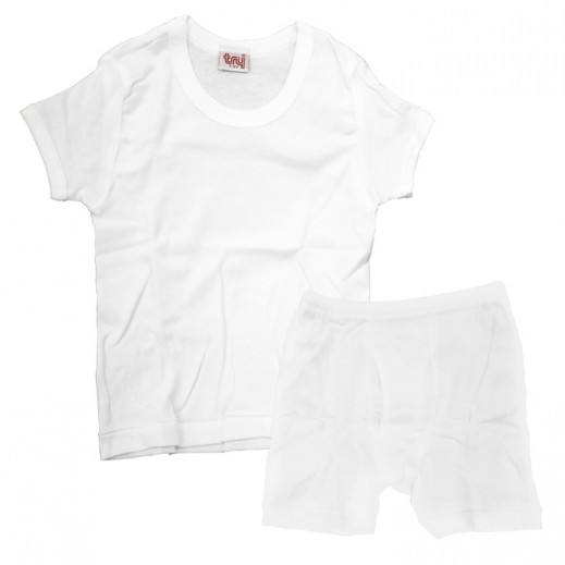 تراي  - طقم ملابس داخلية للأولاد – تيشرت & سروال (لعمر 1- 2 سنوات) إلى (5-6 سنوات)