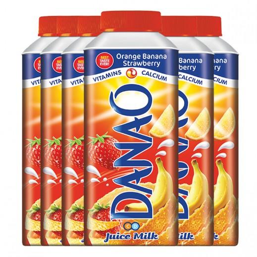 داناو - عصير بالحليب بطعم البرتقال والموز والفراولة 180 مل × 6 حبة