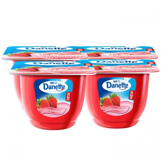 دانيت – حلوى بودنج بطعم الفراولة 4× 90 جم