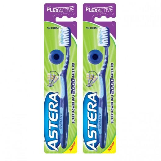 أستيرا – فرشاة تنظيف الأسنان فليكس أكتيف حجم وسط  (2 حبة)