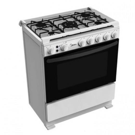 ميديا - طباخ غاز 5 شعلة 60×80 سم - أبيض - يتم التوصيل بواسطة  AL-YOUSIFI CO.