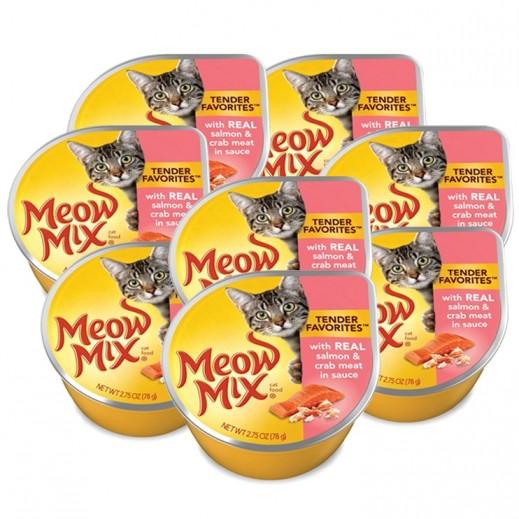 ميو ميكس – طعام القطط - وجبة سلمون وسلطعون في صلصة 8×78 جم