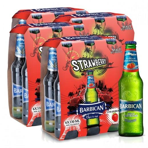بربيكان - مشروب شعير بنكهة الفراولة 330 مل ( 4 كرتون × 6 حبة )