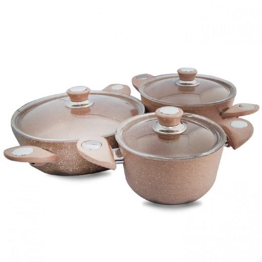 بونيرا - طقم أواني طهي مطلية بطبقة من الجرانيت - 6 حبة