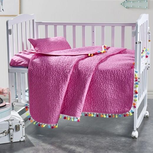 كانون - طقم غطاء سرير وردي للأطفال 3 قطع 110×140 سم - يتم التوصيل بواسطة SFC