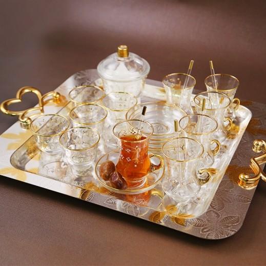 إي إس سي - طقم أكواب إستكانة وقهوة مع طبق مزخرف بخطوط ذهبي - 25 حبة