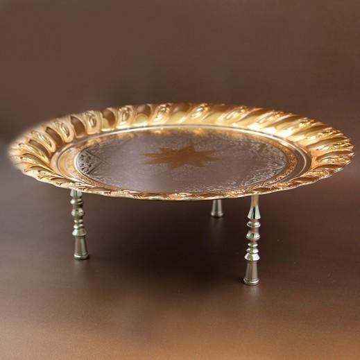 إي سي إس - صينية تقديم دائرية حجم وسط - ذهبي وفضي