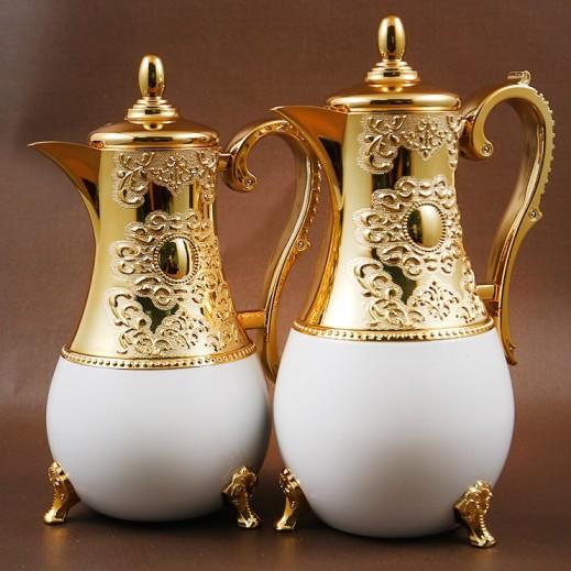 """ايه اس سي – 2 مطارة """" أمياس """" للشاي والقهوة - ذهبي وأبيض"""