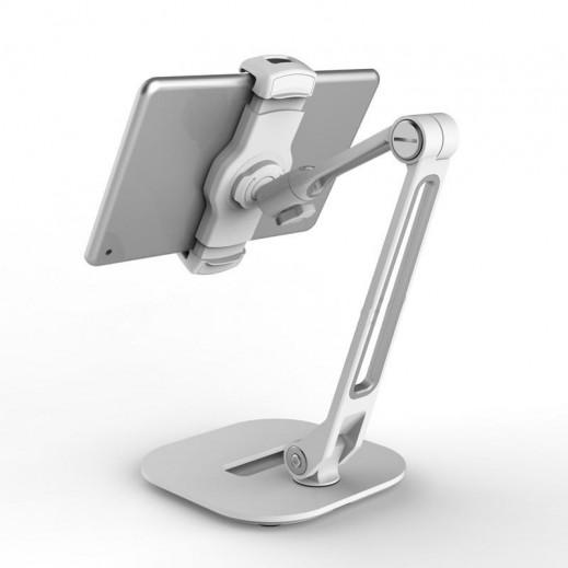 ليدي تيك – حامل 360° مع قاعدة عريضة للهواتف الذكية والتابلت – فضي