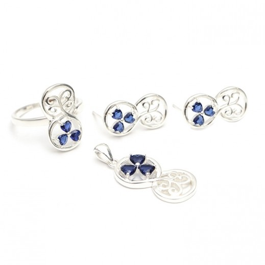 دبليو.إم - طقم مجوهرات مطلي بالفضة السويسرية الخالصة ومرصعة بالزركون والأحجار الملكية الزرقاء - مقاس 7 (موديل A19376)