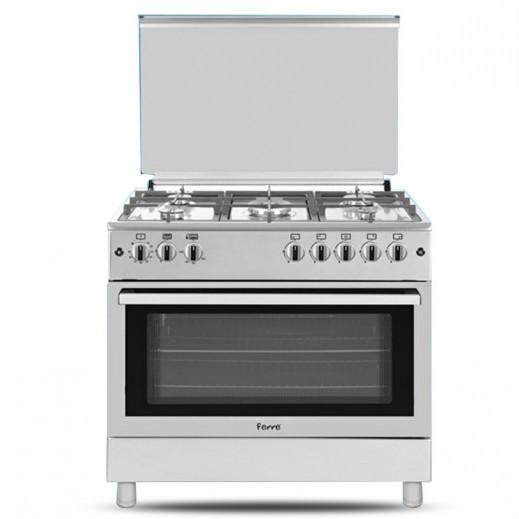 فيرري – طباخ غاز 5 شعلة 60×90 – فضي - يتم التوصيل بواسطة AL ANDALUS