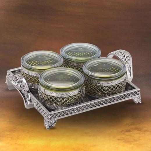 فولفو – طقم أوعية مع صينية تقديم (ألوان متعددة) - 4 حبة