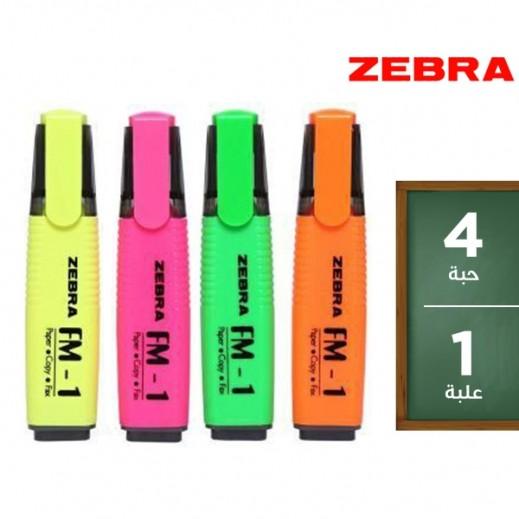 زيبرا  – طقم أقلام ماركر برأس مشطوف 4 لون
