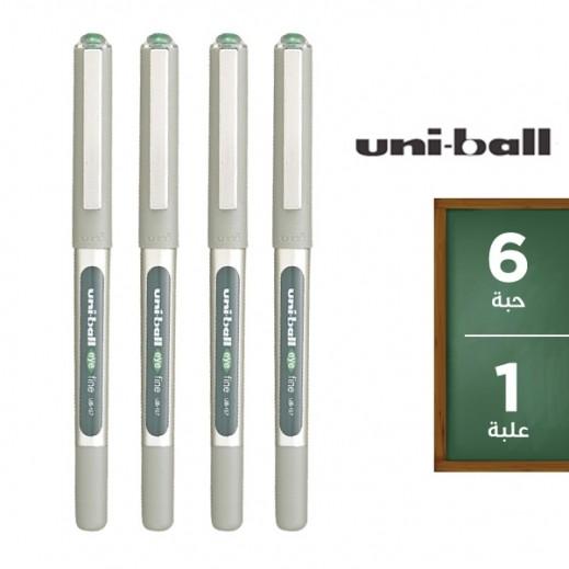 يوني بول آي – قلم حبر سائل – أخضر (6 حبة) – عرض التوفير