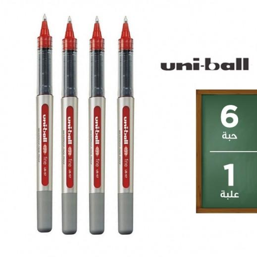 يوني بول آي – قلم حبر سائل – أحمر (6 حبة) – عرض التوفير