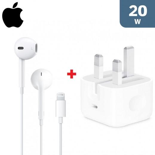 ابل – سماعات الأذن مع موصل Lightning  + ابل – محول الطاقة 20 واط USB-C