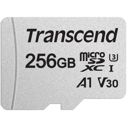 ترانسيند - بطاقة ذاكرة ميكرو SDXC سعة 256 جيجا ومحول - أبيض