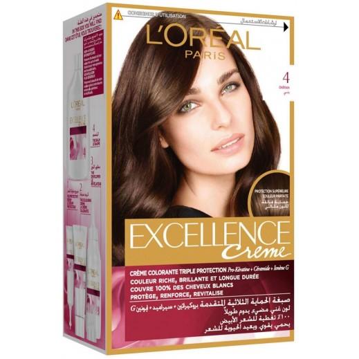 """لوريال باريس – صبغة شعر بكريم """"Excellence"""" رقم 4 لون بني"""