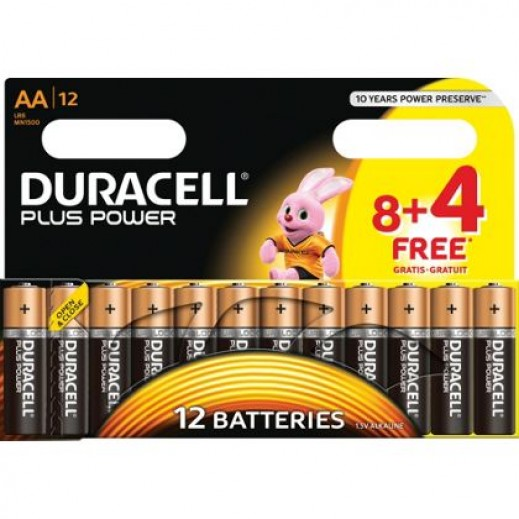 Duracell AA Alkaline Batteries 8+4 Free Pack (1.5V)