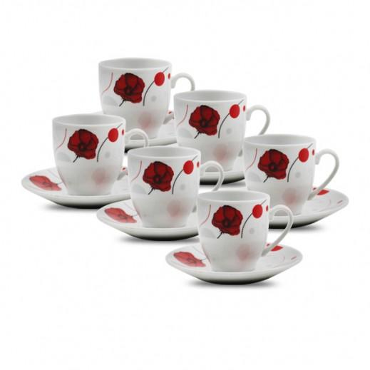طقم فناجين قهوة مع طبق من البورسلان بتصميم الزهور الوردية  6 قطع