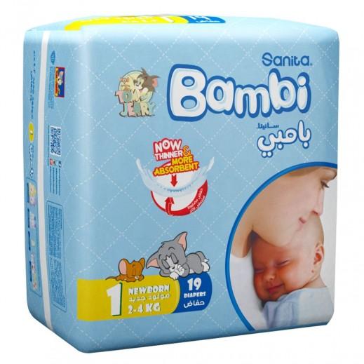 سانيتا – بامبي حفاضات أطفال مقاس (1) لحديثي الولادة (2-4 كجم) 19 حبة