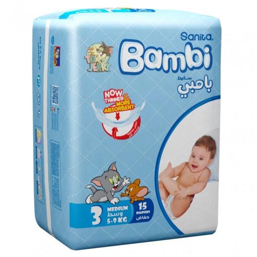 سانيتا – بامبي حفاضات أطفال مقاس (3) حجم وسط (5-9 كجم) 15 حبة