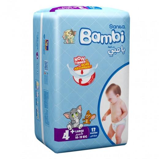 سانيتا – بامبي حفاضات أطفال مقاس (+4) حجم كبير (10-18 كجم) 12 حبة