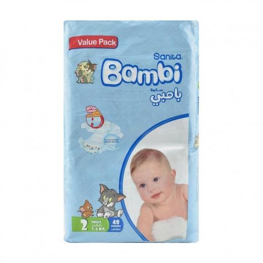 سانيتا – بامبي حفاضات أطفال مقاس (2) حجم صغير (3-6 كجم) 48 حبة
