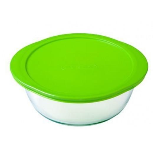 بايركس – طبق زجاجي للطهي والتخزين بغطاء أخضر 0.350 لتر