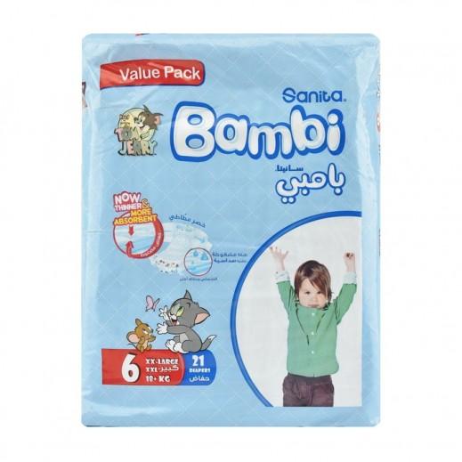 سانيتا – بامبي حفاضات أطفال مقاس (6) كبير جداً (18+ كجم) 21 حبة