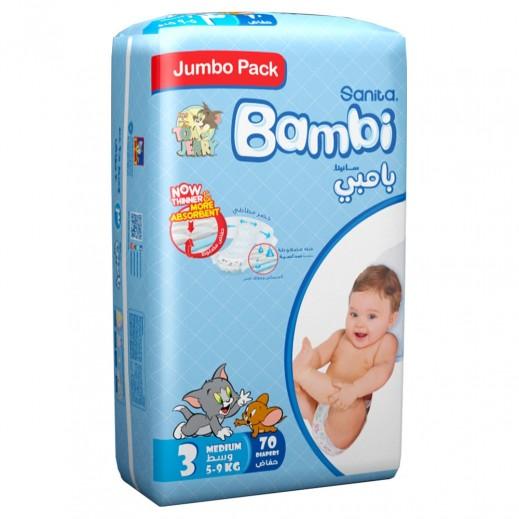 سانيتا – بامبي حفاضات أطفال مقاس (3) حجم وسط (5-9 كجم) 70 حبة