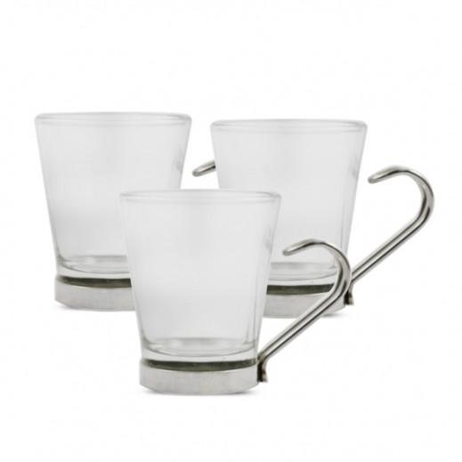 سيرف كولومبيا - طقم فنجاين قهوة (زجاج شفاف)  3 حبة