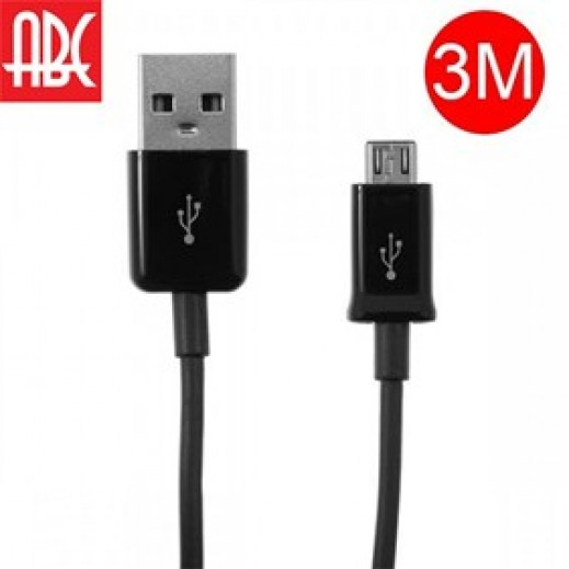 ABC Micro USB Cable for Samsung 3 m - Black