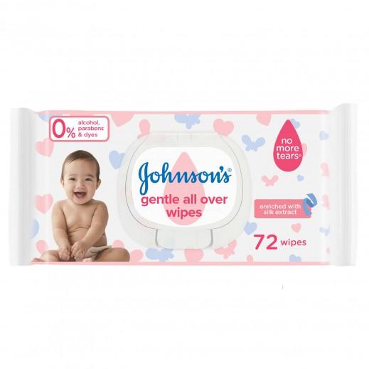 جونسون - مناديل رقيقة للتنظيف اللطيف للأطفال 72 قطعة