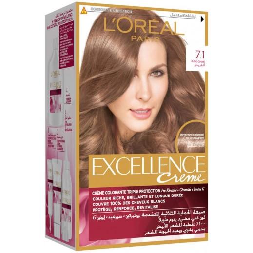 """لوريال باريس – صبغة شعر بكريم """"Excellence"""" رقم 7.1  بلون أشقر رمادي"""