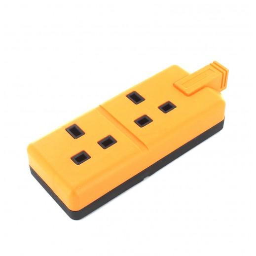 بريمابلاك - وصلة تمديد كهربائية مطاطية 2 مقابس من دون سلك - برتقالي