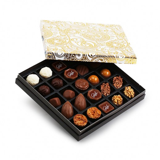 علبة شوكولاتة مُميزة ذهبي / أبيض - 25 قطعة - يتم التوصيل بواسطة Chocolates Rohr Geneve