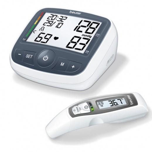 بيورير - جهاز قياس ضغط الدم من أعلى الذراع موديل BM40+ ترمومتر لقياس درجة الحرارة من الجبهة FT 65