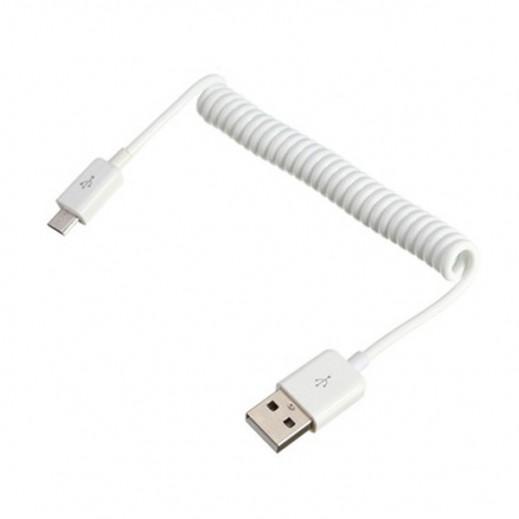 ساداد – كيبل ميكرو USB حلزوني لأجهزة الأندرويد – أبيض