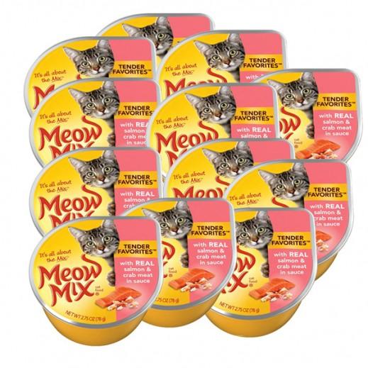 ميو ميكس – طعام القطط بميدلي السالمون ولحم سرطان البحر 78جم (12حبة)- أسعار الجملة