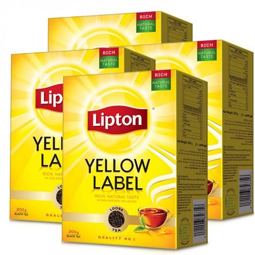 ليبتون - شاي أسود العلامة الصفراء 4 × 200 جم