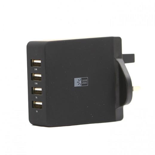 كيس لوجيك – شاحن حائط 4 منافذ USB – اسود