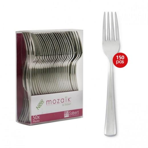 موزايك - شوكة معدنية - فضي ( 50 حبة × 3 باكيت ) - عرض التوفير