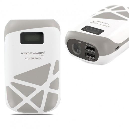 كونفلون بطارية شحن احتياطية 10,000 مللي امبير منفذين USB ومصباح يدوي فضي