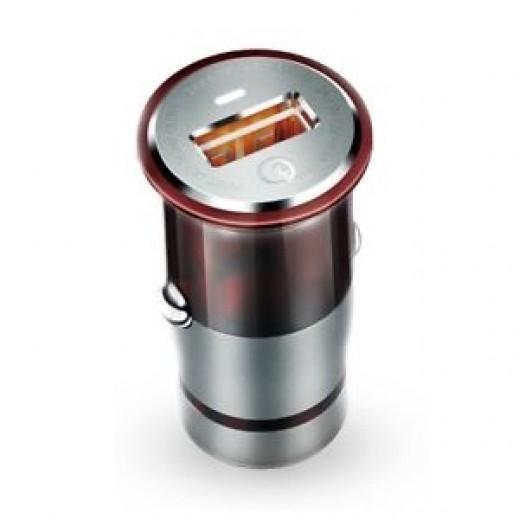 لدنيو – شاحن سيارة سريع Qualcomm 3.0 بقوة 3 أمبير مع كيبل ميكرو USB – أحمر