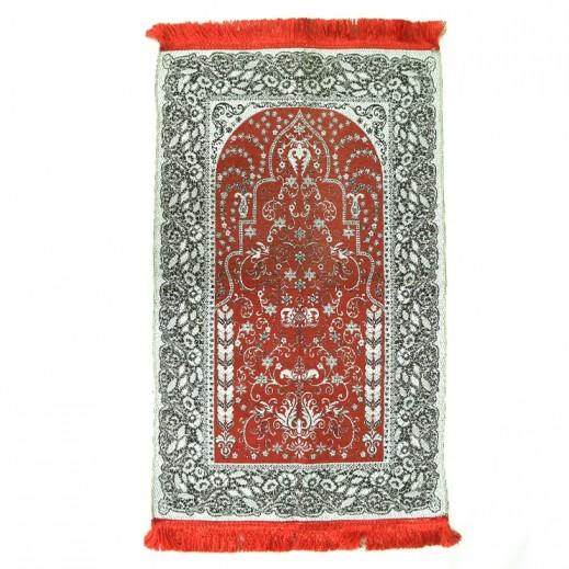 سجادة الصلاة  بتصميم الورود - أحمر