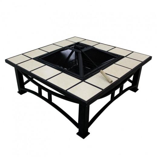 دوة فحم معدنية مربعة 98×15×98 سم - عاجي